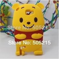 1 X Cute 3D Winni Bear Silicone Case For SAMSUNG N7000 Galaxy Note I9220 S3 SIII I9300 Soft Teddy Bear Skin Free Drop Shipping