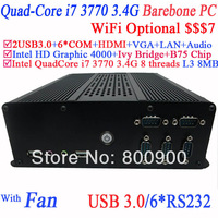 Mini PC Barebone PC Computers with B75 Express Chipset Intel quad-core i7 3770 3.4Ghz eight threads CPU Barebone PC Thin Clients