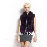 high quality real fur gilet brand new fashion women's fur vest natural rabbit fur outwear with fox fur collar in stock