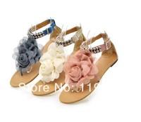 Big Size 34-43 Bohemia 2014 Sandals Female Beaded Flower FLat Flip-flop flats Women's Shoes Free shipping XZ0010-