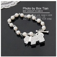 Min. order $10 (mix order)The fashion Full drill shining pearl bracelet with the dog for women