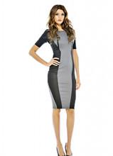 Free Shipping 2015 New Elegant Lady Dress Black Grey OL Cocktail Slim Stripe Bodycon Celeb Sexy Women Fashion D89(China (Mainland))