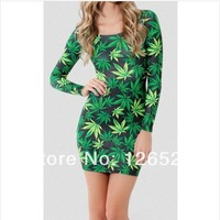 Hot sale fashion women's sexy tops long sleeve printing dresses spring and summer dresses Marijuana design