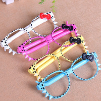 20pcs/lot Gift Stationery Cartoon Hello Kitty Shaped Glasses Frame Cute Ballpoint Pen As Promotional Pen for Children and Audlts