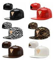 Top Fashion Storm 2014 unisex casual hater snapback baseball cap women PU leather gold zebra print flat brim men hip hop hat