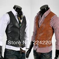 Free shipping men's fashion leisure wild vest high quality men's casual leather vest wholesale