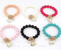 Hot!!fashion The elephant ball bead bracelets & bangles !A variety of color mixing bracelet + free shipping