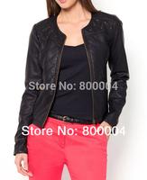 Free shipping round neck rivet black 2014 new style punk faux leather jacket