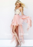 WZY-WP3 Sexy Girls Prom Dresses New  Sweetheart Beaded FAshion Design Front Short Long Back Flowy  Prom Dresses 2014