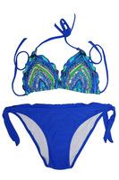 Sequined and Beading Push Up Swim Suit Bikini Ruffle Trim Triangle Top Swimwear Beachwear Fashion Women Bathing Suit