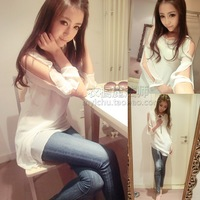 2014 spring women's ladies small sexy strapless small fresh long-sleeve chiffon top shirt female