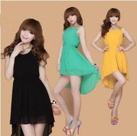 14 color pus size S-XXXL girl dress,2015 Summer women Asymmetrical Chiffon dresses,fashion vestidos Sequins party dress