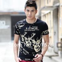 Summer male tight o-neck elastic lycra cotton t-shirt male short-sleeve shirt basic men's clothing