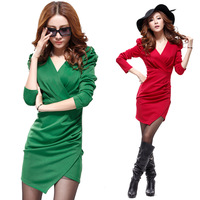 2014 women's summer long-sleeve V-neck pleated slim hip ol white collar work wear one-piece dress