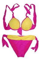 Contrast Colors Ruching Triangle Top Bikini Bottom Set Sexy Ladies' Push-Up Swimwear 2014 Summer Swimsuits