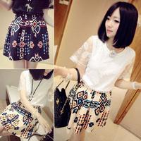 2014 new spring summer vintage elegant bust swork skirt short skirts female