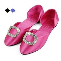 Women's Fashion All-match Low-cut Square Buckle Rhinestone Flat Shoe 3Colors 15891