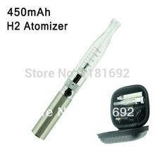 E-cigarette 450mAh Battery and H2 Atomizer Single Mini Bag Starter Kit (silver+transparent) Free Shipping