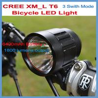 1800 Lumens Bicycle LED Light Headlight CREE XML T6 6400mAh Battery Pack Bike Waterproof  Design 3 Swith Modes Lamp!!