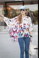 2014 New Fashion  Women's Batwing Sleeve Butterfly Print Loose Top Chiffon Blouse Shirt Plus Size