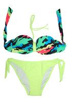 Fashionable Doodle Print Bathing Suits - (M-XL) 1/2 Cup Bandeau Top Bikini Set With Halter Strap Women's Swimwear Beachwear