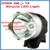 6400mAh Battery Pack 1800 Lumens Bicycle LED Lamp Headlight CREE XML T6  Bike Waterproof  Design 3 Swith Modes Free Shipping !!