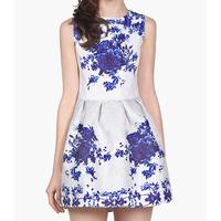 New Spring Summer 2014 Vintage Porcelain Floral Baroque Print Sleeveless Jacquard Flare Prom Dress For Women Girl 739402