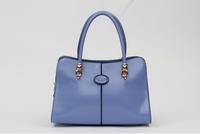 Luxury Solid Color Handbag 2014 Pu Leather Brand Shopping Satchel Make Up Handbag For Women Yellow/Blue/Black/Pink/Rose Red