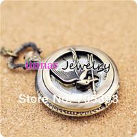 Free shipping  Wholesale  Vintage Bronze Hunger Game Mini Quartz Pocket Watch Necklace Chain Dia 2.7cm