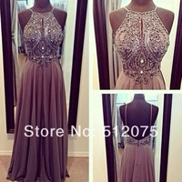Hot Sale High Neck Open Back Crystal Prom Dresses vestidos de noche A Line Floor Length Evening Gowns 2014 New Arrival