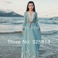 2014 Vintga V-neck Cotton Embroidery Long Sleeve Muslim Clothing,High Quanlity Girl's Arabic Dress,Abaya In Dubai Free Shipping