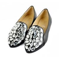 Korea Women's Fashion Punk Rhinestone Bead Metal Pointed Toe Flat Shoes 15969