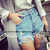 Promotion!New 2014 Shorts Women Big Hole Denim Shorts A Casuaal Broken Design Shorts Pants Women Jeans Shorts
