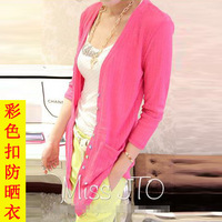 2014 all-match fashion three quarter sleeve medium-long sweater cardigan 883