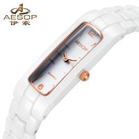 Fashion AESOP Relogios Feminino Full White Ceramic Dial Analog Lady Quartz Party Women Dress Watch Luxury Gift For Women 9912
