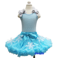 Girls Snow Blue Pettiskirt Light Blue Elsa Rhinestone Tank Top Costume Party Dress 1-7Y