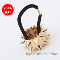 Min Order $10,Fashion Jewelry 2014 punk Spike gold Headband Hair Accessories Fold Over Elastic For Headbands,hair Jewelry,H07