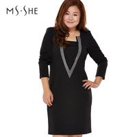 Msshe plus size clothing winter solid color square collar diamond elegant long-sleeve dress slim