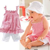 Kids Girls Pink Ruffled Plaid Tops Shirts+Short Pants+Hat 3Pcs Costume 6M-3Y Free&DropShipping