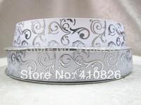 WM ribbon 7/8inch 22mm 14328007 White Silver Foil grosgrain ribbon 50yds/roll free shipping