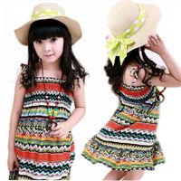 Bohemia Style Kids Girls Summer Dress Cute Sleeveless Beach Dress + Necklace Children's Clothing New Free &Drop shipping