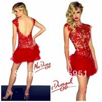 2014 New Hot ballet elegant red lace Evening Dress sheer bodice open back sexy club mini dress Sheath Prom Dress JY1224