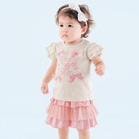 Fashion Cute Girl 100% Cotton Bowknot Short sleeve + Dress Pants 2PCS Girl Clothing Sets Free&DropShipping
