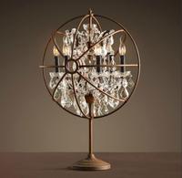 Luxury american style iron crystal lighting fitting bulbiform iron decoration table lamp 8990t