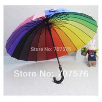 2pcs/lot sale Summer / rainy day Umbrella 24 rainbow umbrella large umbrella straight long shank hook umbrella