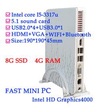 FAST MINI PC HDMI+VGA+bluetooth+WIFI THIN CLIENT MINI PCS intel I5-3317u  dual core 1.7GHz four channel 4G RAM 8G SSD