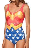 New 2014 Sexy Women WONDER WOMAN CAPE SUIT(No Cloak) Print Bikini Set Bodysuit Beach SWIMSUIT Swimwear Fitness Wetsuit S125-141