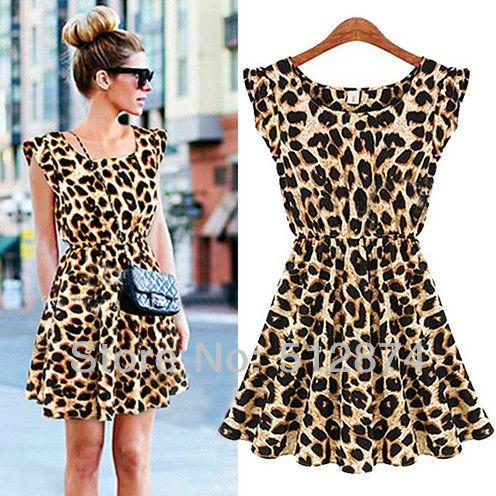 new 2014 Elegant Classical Vintage O-neck Sleeveless Women Casual Leopard Print Dress Microfiber Summer Dresses S-XXL Sundress(China (Mainland))