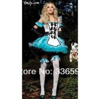 cosplay maid dress snow white skirts Sexy Halloween Adult Charming Alice in Wonderland Costume w Headband princess dresses