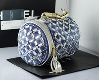 brand high quality unique women jeans PU leather patchwork woven bucket set bag handbag metal diamond rivet tassels crystal sexy